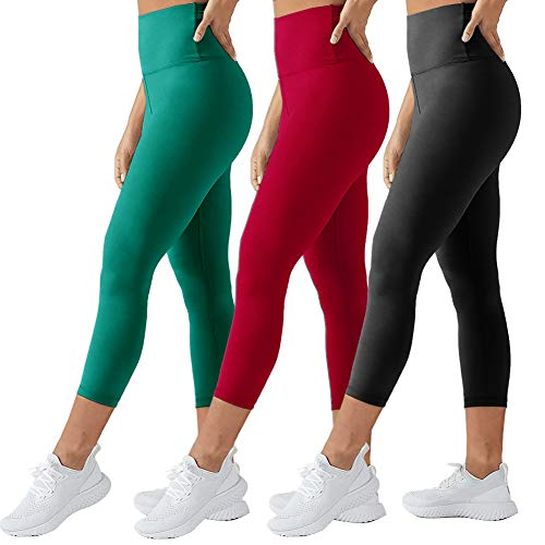 TNNZEET High Waisted Tummy Control Soft Plus Size & One Size Capri Leggings Elastic Opaque Slim (Black+Red+Teal, One Size)