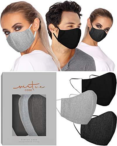 The T-Shirt Face Mask Collection by VIRTUE CODE Stoff-Gesichtsmasken 3 Masken hellgrau dunkelgrau schwarz Jersey Stoff
