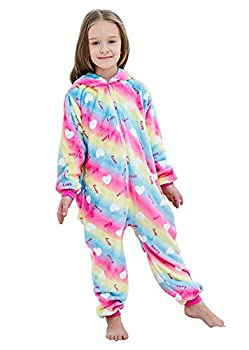 FuzzyCosplay Kids Unicorn Costume Animal Pajamas Halloween Cosplay Xmas Gifts  Rainbow Love 8-10 Years