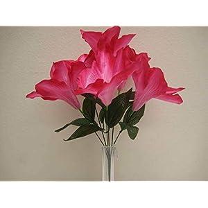 "JumpingLight 6 Bushes Beauty Amaryllis 6 Artificial Silk Flowers 16"" Bouquet 647BT Artificial Flowers Wedding Party Centerpieces Arrangements Bouquets Supplies"