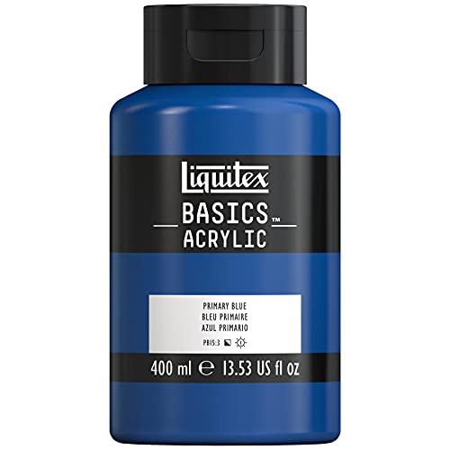 Liquitex 4640420 Basics - Acrylfarbe, monopigmentierte Künstlerpigmente, lichtecht, mittlere Viskosität, Achivqualität, seidenglänzender Finish, 400ml Topf, Primärblau