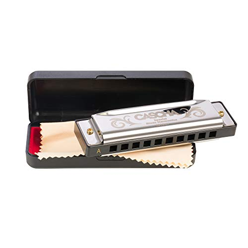 CASCHA Mundharmonika in A-Dur inklusive Case und Pflegetuch, Special Blues Country Mouth Harmonica, für Anfänger und Kinder, Silber