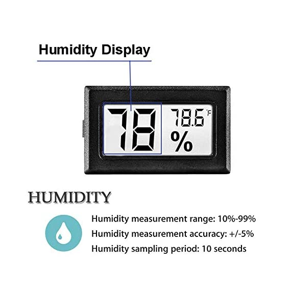 Meggsi 2-pack mini digital hygrometer gauge indoor thermometer, lcd monitor temperature outdoor humidity meter for… 3 mini, durable and portable, measuring humidity and temperature for indoor/outdoor. Fast response that measures every 10 seconds with 24 sensitive vents to provide updated and accurate readings. Fahrenheit (℉) display, this thermometer displays temperature in fahrenheit(℉). Comes with a gift kit (extra lr44 batteries+double-side tapes). Measuring humidity range :10%-99%rh, measuring humidity accuracy: +/-5%.