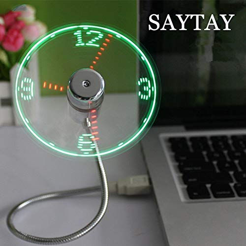 SAYTAY USB LED Clock Fan, Mobile USB Fan Portable Cooling Mini USB Quiet Gooseneck Fan for Office, Home & Travel (Clock)