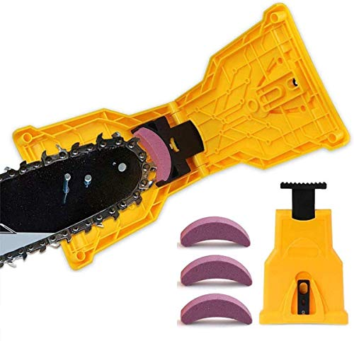 DAYFEN Chainsaw Sharpener, Portable Chain Saw Blade Teeth Sharpener Work Sharp Fast-Sharpening Stone Grinder Tools Suitable for 14/16/18/20 Inch One/Two Holes Chain Saw Bar (3pcs Extra Whetstones)