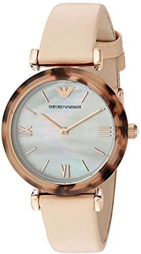 Emporio Armani Women's 'Gianni T-Bar' Quartz Plastic and Leather Casual Watch, Color: Beige (Model: AR11004)