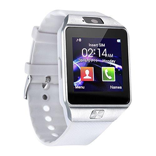 Reloj inteligente, KXCD Bluetooth Smart Watch con monitor de corazón, podómetro compatible con tarjeta SIM funciona con Android e ios para hombres y mujeres iPhone Watch (blanco)