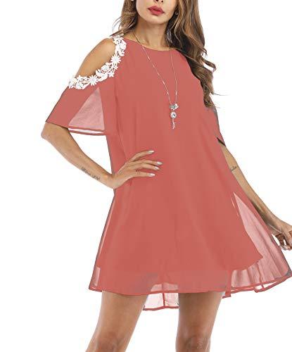 Aox Damen-Minikleid mit floralem Spitze, kurzärmlig, Patchwork-Stil, lockerer Rücken, Chiffon Gr. 48, rot