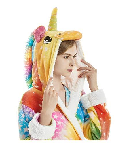 Bata Encapuchado, Unicornio Batas de Baño Onesie Adultos Pijamas de Animales Camisón de Dibujos Animados Suave Bata de Dormir Halloween Navidad (Estrellas Colores, M)