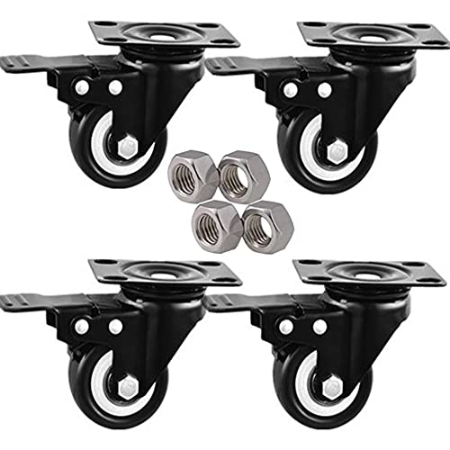 DDCHH Swivel Caster Wheels Heavy Duty Quiet Rolling Casters Polyurethane (PU) Wheels, for All Floors Including Hardwood, Tile and Carpet, Total Capacity 300KG,2Inch-WithBrake