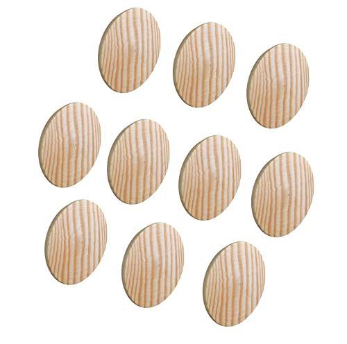 Gedotec Abdeckkappen MINIFIX Loch-Abdeckungen Holz für Blind-Bohrung Ø 35 mm | Massivholz Kiefer naturbelassen | Gesamt Ø 38 mm | Kappen rund zum Eindrücken | 10 Stück - Schrauben-Kappen für Möbel