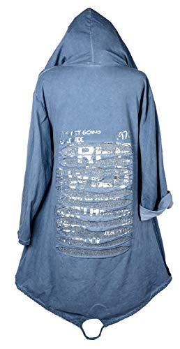 Italy Donna Damen Sommer Lagenlook Kapuze Mantel Jacke Blazer Kardigan 42 44 46 48 50 52 54 56 M L XL XXL 3XL 3D Silber Print Urlaub Strand Jeans Blau Oversize (52)