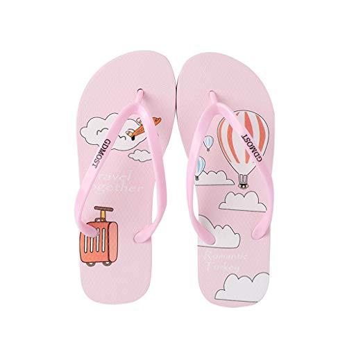 WXYPP Antideslizante de Las Mujeres Flip-Flops Moda Zapatillas de Playa de Dibujos Animados de impresión Sandalias (Color : Pink, Size : 36)