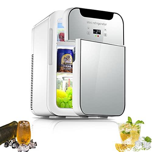 MOZX Mini Nevera 20L, Nevera para Bebidas con Función De Frío Y Calor, Mini Frigorífico Portátil 12V / 220V para Coche Y Casa, Minibar para Soda, Skincare, Alimentos, Bebidas