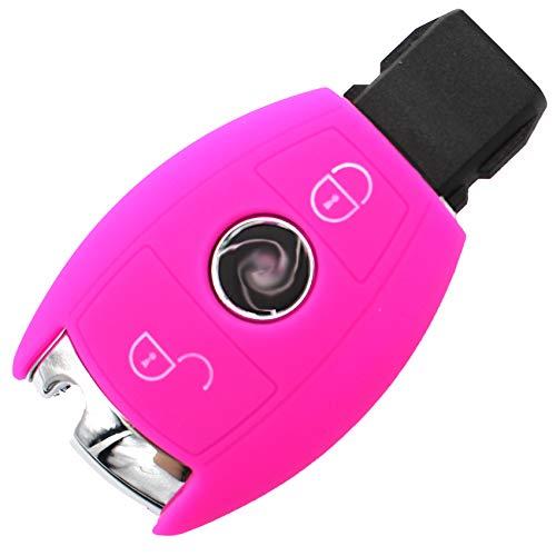 Finest-Folia Coque de Protection en Silicone pour clé de Voiture 2 Boutons Rose Fluorescent