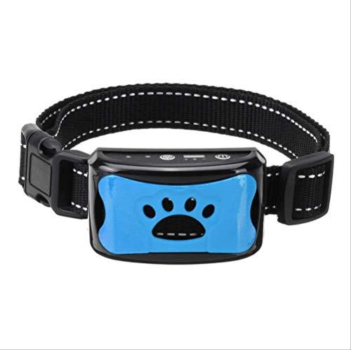 WYJW Dog Collar Small Dog Bark Collar Waterproof Pet Dog Anti Bark Collar Control Train Rechargeable Stop Barking Pet Dog Waterproof Ultrasonic Training Collars Blue