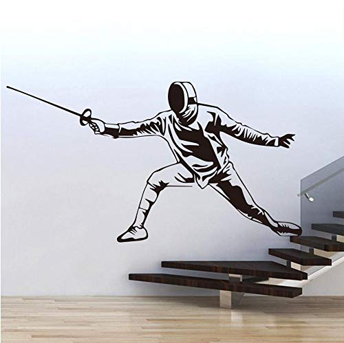 Schwertkämpfer Fechter Wandaufkleber Aufkleber Fechten Halle Dekoration Wandmalereien Zubehör Für Wohnzimmer Vinyl Poster Tapete 58X31cm