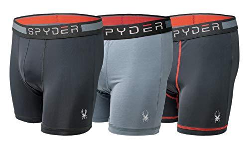Spyder Mens Boxer Briefs Performance Sports Compression Shorts Athletic Mens Underwear  Mens Boxers Brief  3 Pack for Men Medium Black/Grey/Black