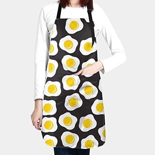 BONRI Lindo Delantal de Huevos fritos con 2 Bolsillos Cocina Divertida Impermeable 33 Delantal con Babero para Mujeres Hombres Chef Cocina, BBQ, Hornear, Pintura