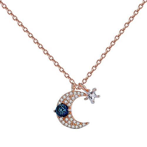 HUKJ S925 Silver Star Moon Glass Necklace Female, All-Match Sweet and Artistic Japanese Star and Moon Clavicle Chain