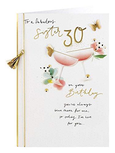 Clintons: Tarjeta de felicitación de 30 cumpleaños, diseño de cócteles, color rosa, 11 x 15 cm