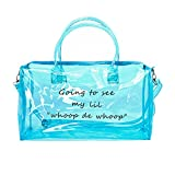 Clear Gym Bag for Women, Clear PVC Tote Bag Large Sports Duffel Bag Bright Candy Color Jelly Bag with Durable Metal Zipper for Gym, School, Travel, Beach Blue