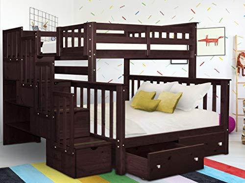 Bedz King BK961-Dark-Cherry-Drawers Bunk Bed, Twin Over Full, Dark Cherry