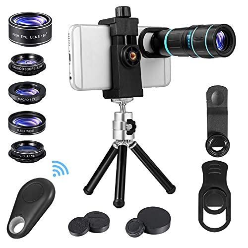 Cell Phone Lens 6 in 1 Phone Camera Lens Kits with 18X Zoom Telescope Lens, Fisheye, Macro, Wide...