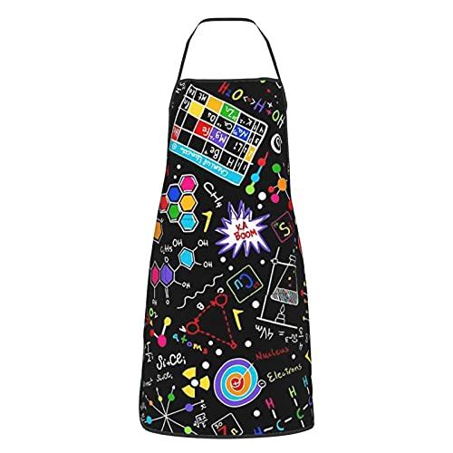 Delantal de cocina para mujeres hombres con bolsillos ciencia colorido graffiti delantales cocinero hornear jardinería barbacoa parrilla pintura negro