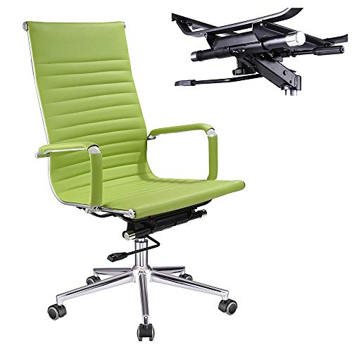 Yescom Executive High Back Ribbed PU Leather Swivel Office Computer Desk Chair Green XL