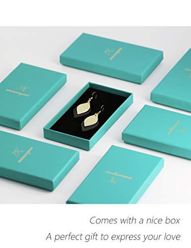 missaqua Leather Earrings Layered Metallic Genuine Leather Leaf Dangle Drop Earrings for Women