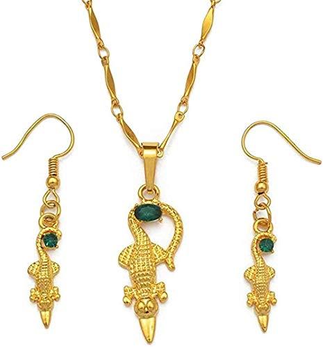 LBBYLFFF Collar con Colgante de Color Dorado y Pendientes para Mujer, joyería de Papua Guinea, Estilo Nacional, Longitud, Collar de 60 cm