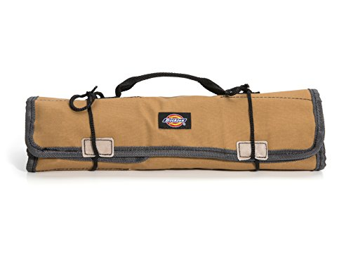 Dickies Large Wrench/Screwdriver Organizer Roll for Mechanics, 23 Tool Pockets, Durable Canvas Construction, 26 in. x 14.25 in. Unrolled, Grey/Tan