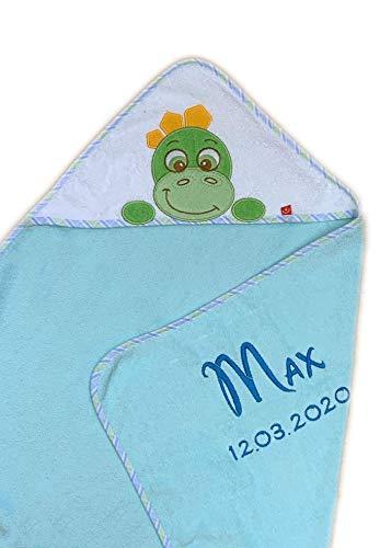 Handdoek met capuchon geborduurd met naam en geboortedatum / 76x76 cm/knuffelzacht / 1A kwaliteit / 100% katoen Turquoise - DINO