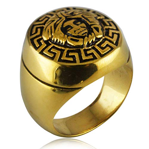 Men's Stainless Steel Egyptian Pharaoh Rings, Vintage Sphinx Rune Symbol Amulet Jewelry Accessories Gift, Party Prom Personality Hip Hop Rock Punk Biker Ring, 7 To 13 Size,Gold,13