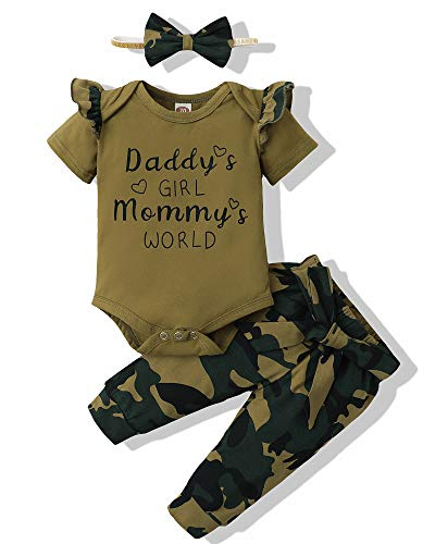 Newborn Baby Girl Clothes Short Sleeve Romper Infant Girl Clothes Camo Long Pants Onesie Baby Girl Outfits Set Letter Print Baby Girls' Clothing Spring Summer 3PCS Green 0-3 Months