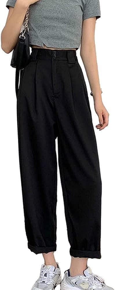 NP Pants Women Basic Summer Minimalist Ankle-Length Trousers Wide-Leg Womens Pant
