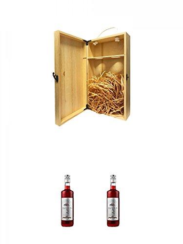 1a Whisky Holzbox für 2 Flaschen mit Hakenverschluss + Ficken Jostabeerenlikör 0,7 Liter + Ficken Jostabeerenlikör 0,7 Liter