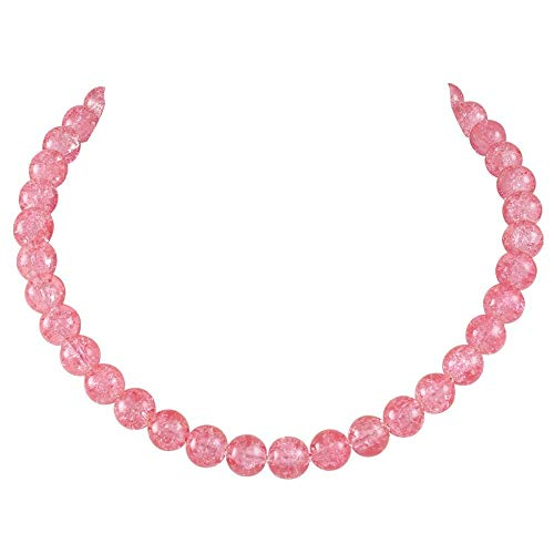 Eternal Collection Carnival Coral Pink Czech Glass Crackle Bead Silver Tone Necklace Pink 48