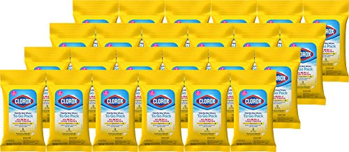 Clorox Disinfecting Wipes On The Go, Bleach Free Travel Wipes, 9 Ct, Pack of 24 (Package may vary) (Package May Vary)