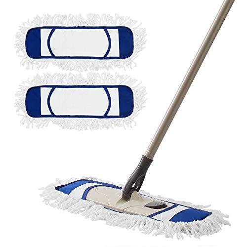 Eyliden.モップフロアモップダスキン綿系クロス2枚セット取替用フローリング床掃除モップベーシック乾拭き水拭き長さ調節約113cm~140cm