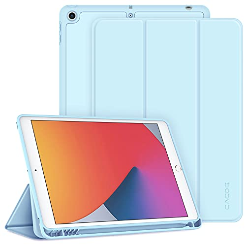 CACOE Funda Compatible con iPad 8 Generación iPad 7 Generación, Ranura para bolígrafo, Ultra Slim Protectora Carcasa con Función de Soporte Compatible con iPad 10.2 2020 2019, Cielo Azul