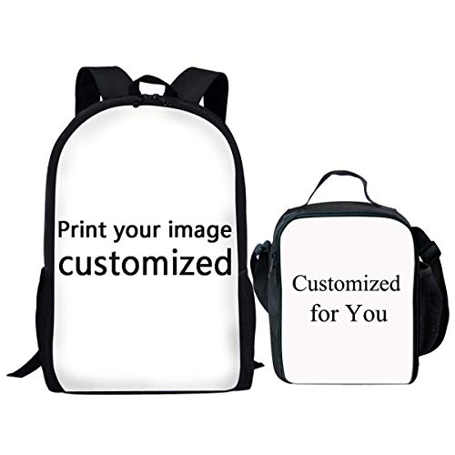 Showudesigns Custom School Backpack Set with Schoolbag and Lunch Box Customize for Kids Gift - 2 Pieces