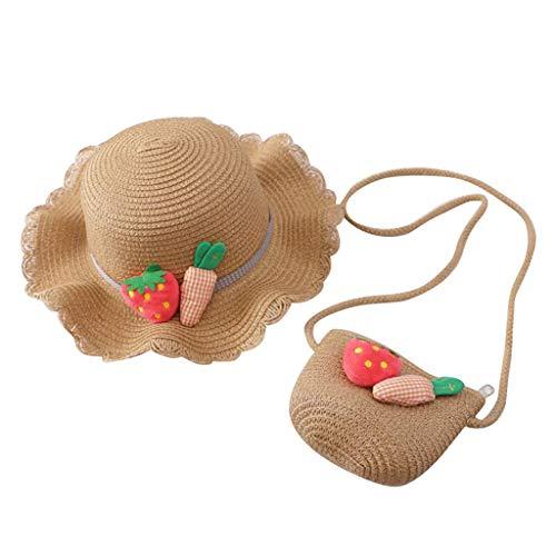 Dos Piezas niña Sombrero de Paja + Bolso con Linda impresión Anti UV Sombrero para el Sol Casual Transpirable ala Ancha Gorra Al Aire Libre Paja Hat 2-8 años Sombrero para niños
