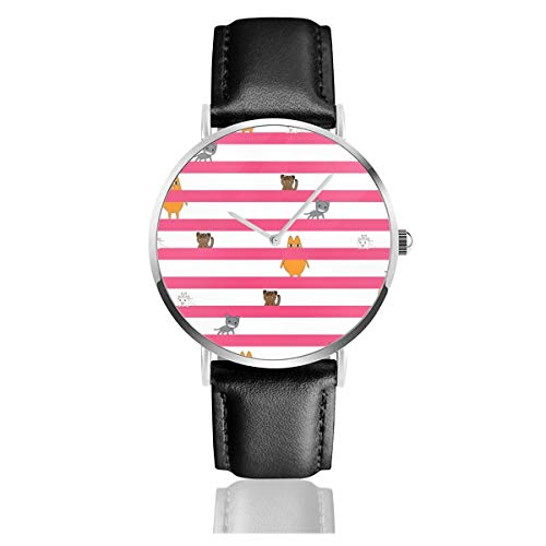 Azumanga Daioh CatsLeather Reloj de Pulsera Casual clásico de Acero Inoxidable de...