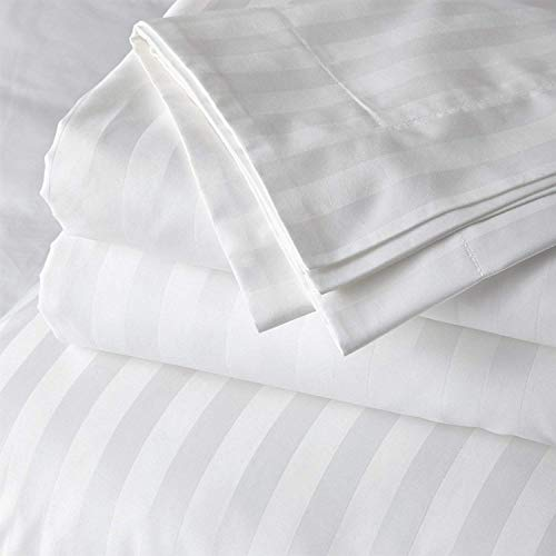 Cotton Bed Sheets 5 Piece Split Set 400 Thread Count 100% Extra Long Staple Luxurious & Hypoallergenic Bedding Hotel & Home Collection Deep Pocket 10-18 inches Split (Queen, White Stripe)