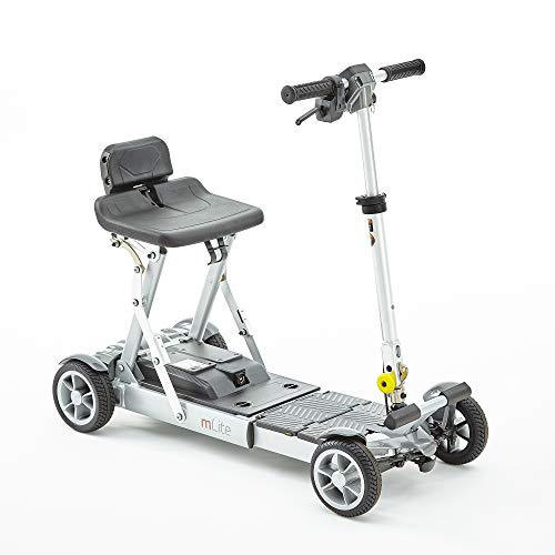 Motion Healthcare mLite Folding Electric Mobility Scooter ? Lightweight Battery Operated ? Extendable Floor Pan ? Four-Wheel Mobility Scooter ? On and Off Board Charging ? 115kg Weight Capacity