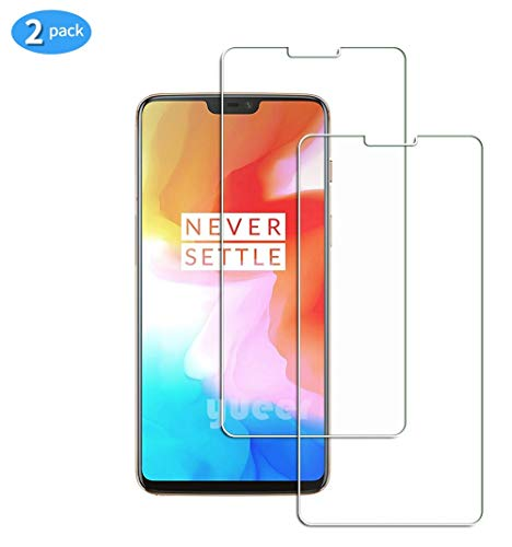 yueer [2-pack] voor OnePlus 6 Scherm beschermer, Screenprotector van gehard glas-[Ultra Thin] [High Definition][Bubble-Free] [Easy Installation] [Anti Scratch].