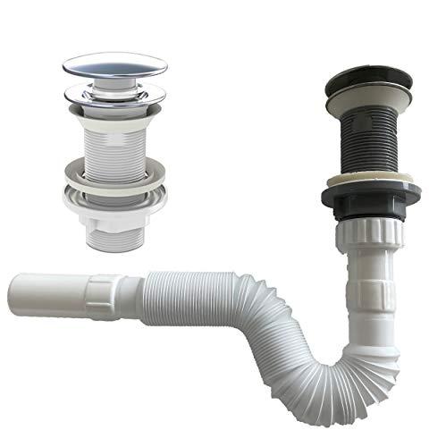 Flexibel Siphon Ablaufgarnitur Pop Up Ablaufventil Abfluss Ablauf Waschbecken