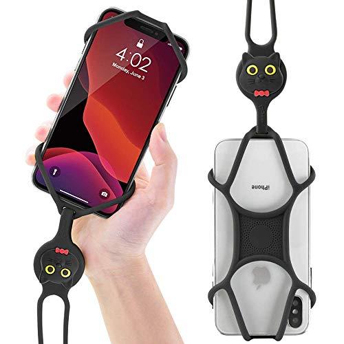 Bone Multifunktion Handy Umhängeband, Universal Handykette Lanyard Smartphone Necklace, Flexibel Handyband zum Umhängen, Umhängehülle Trageband für iPhone 12 11 X XR XS Samsung Huawei - Miao Katze